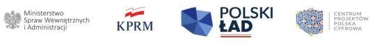 logo Ministerstwo Spraw Wewnętrznych i Administracji, logo kancelarii premiera rady ministrów, logo polski ład, logo centrum projektów cyfrowa polska
