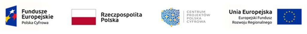 Loga Rzezczpospolitej Polskiej, Logo centrum projektów cyfrowa plaska, logo unii europejskiej oraz logo funduszy europejskiej